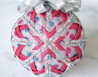 Quilted Christmas Ornament Ball-Silver-Pink-Blue-Dot to Dot