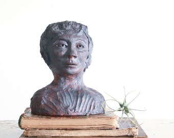 1960's Sculpture of a Woman / Vintage Ceramic Bust / Mid Century Studio Pottery / Outsider Art