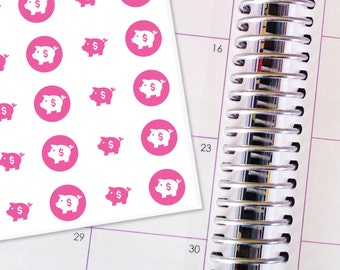 Planner Stickers Erin Condren Life Planner (ECLP) - 77 Pink Piggy Bank Stickers (#5001)