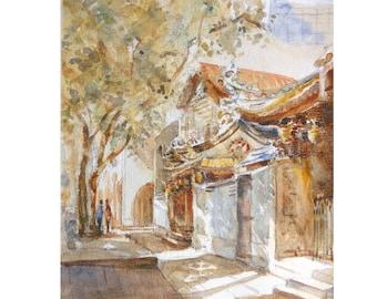 Temple, asia, peinture original watercolor painting id20170426 oriental,  ancient architecture wall art, not a print, landscape,