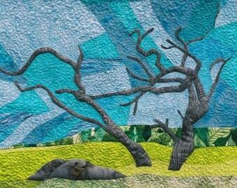Driftwood, 5x7 Greeting Card, Free Shipping, Nova Scotia, Fabric Art, Folk Art, Kelly Burgess, Shoreline, East Berlin