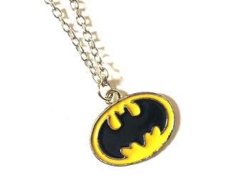 Batman Necklace for Men and Women - Batman Jewelry - Superheroes Necklace - DC Comics Necklace - Minimalist Necklace - Dark Night Necklace