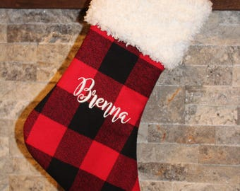 Personalized Buffalo Check Plaid in Red and Black with White Fur Cuff Woodland Christmas Stocking
