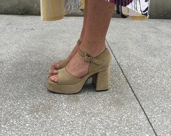 Sandali camoscio sabbia, sandali plateaux  camoscio, anni 70 scarpe camoscio, sandali plateaux camoscio taglia 39