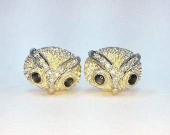 Vintage Owl Cuff Links with Diamonds & Black Sapphire Eyes - 14 karat yellow gold
