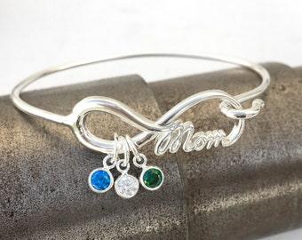 Mom Infinity Bangle Bracelet, Mothers Charm Bracelet, Mother of the Bride Gift, Charm Bangle Bracelet, Mom Bracelet, Gift For Her