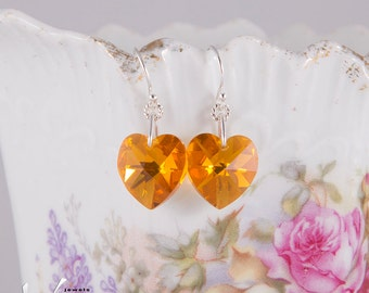 Romantic sterling silver earrings heart Swarovski crystals, yellow, topaz, or bright blood red, sterling silver Valentine dangle earrings