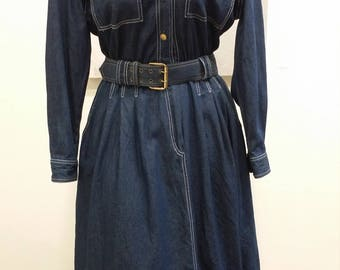Vintage Denim || Denim Dress, California Girl, Denim Shirt Dress, Jean Dress, Western Wear, Blue Denim, Button Front Dress, Long Sleeve