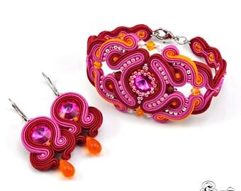 Oriental Jewelry, Oriental Soutache Set, Burgundy Soutache Jewelry, Set of bracelet and earrings, Dangle Earrings, Burgundy Dangle Earrings