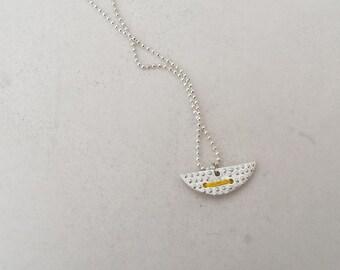 Geometric minimal Sterling silver 925 necklace semi-circle pendant dots unique