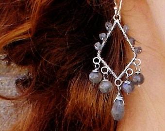Labradorite Earrings Wire Wrapped Sterling Silver Chandelier Gemstone Jewelry Dangle Earrings