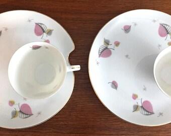 Mid Century China ~ Pink Leaf ~ Mid Century Tea Set ~ Vintage China ~ Tea Cup ~ Coffee ~ Tea Cup and Saucer