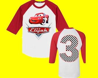 Disney Cars Birthday Shirt - Cars Birthday Shirt - Red 3/4 Sleeve is Shown