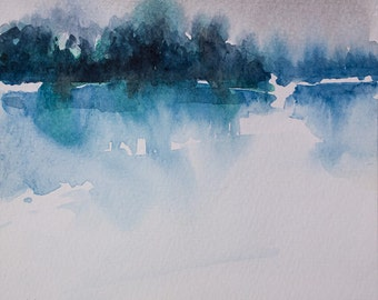 Original watercolor  painting, LAKE REFLECTIONS, fog painting, lake painting, blue,misty day, fog, water
