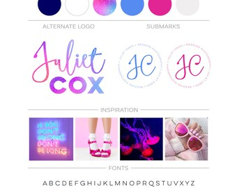 Purple Pink Branding Package Makeup Artist Logo Ombre Script Modern Logo Design Photography Logo Branding Kit Fashion Blog Boutique Business