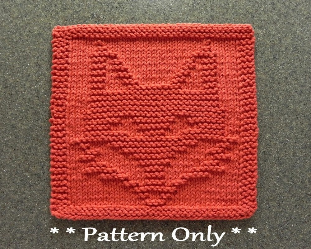 FOX Knit Pattern for Dishcloth or Wash Cloth Quilt Block for