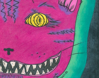 Cheshire Cat Art Print, Alice in Wonderland Art, We're All Mad Here, Psychedelic Art, Down the Rabbit Hole, Trippy Art, Grin, Sinister