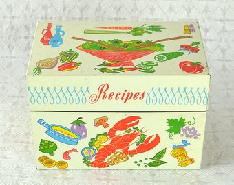 Vintage Recipe Metal Tin Box Lobster Kitchen Mid Century Lithographs Ohio Arts