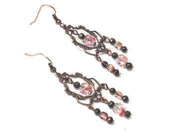 Beaded Chandelier Earrings, Rose Crystal with Copper Accents