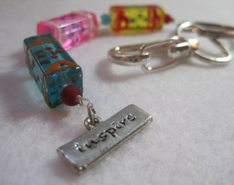 Colorful inspirational beaded keychain. Chunky mod design can be zipper pull or purse charm as well! ArtsParadis N355