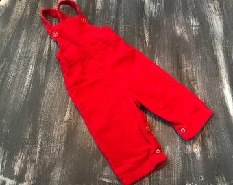 Vintage Kids Health-Tex 12M Red Corduroy Overalls Romper Very 70s 80s