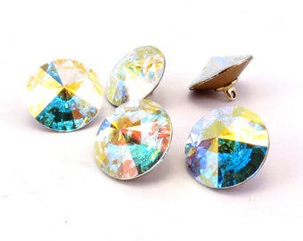 Swarovski crystal clear AB 5 buttons