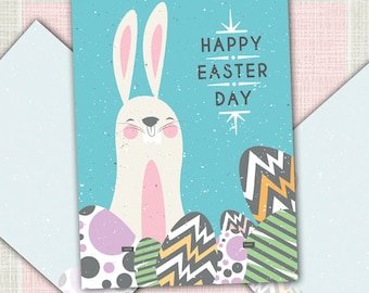 Easter Card, Greeting Card, Easter Bunny, Easter Eggs, Retro