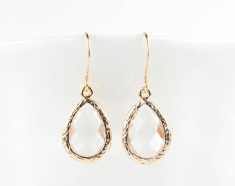 Crystal Gold Teardrop Earrings, Clear Gold Drop Earrings, Crystal Earrings, Gold Earrings, Bridesmaid Earrings, Wedding Jewelry