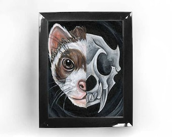 Ferret Art, Skull Print, Pet Portrait, Taxidermy Animal Skeleton, Gothic Decor, Custom Size, Goth Wall Art, Memorial Gift, Death of Pet
