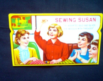 Vintage Sewing Susan Needle Book - Needle Book - Vintage Sewing - Vintage Advertising