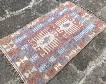 Free shipping Vintage Anatolian  Oushak Rug Wool Low Pile  Oushak Rug