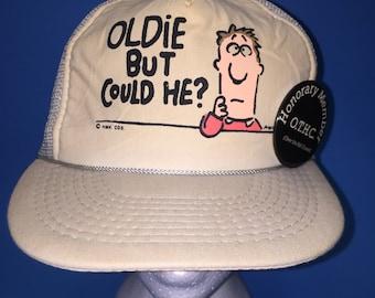 Vintage Oldie But could he? Trucker snapback Hat 1980s Adjustable
