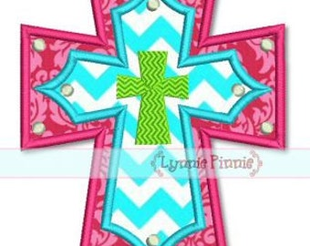 LAYERED CROSS Applique 4x4 5x7 6x10 7x11  Machine Embroidery Design INSTANT Download