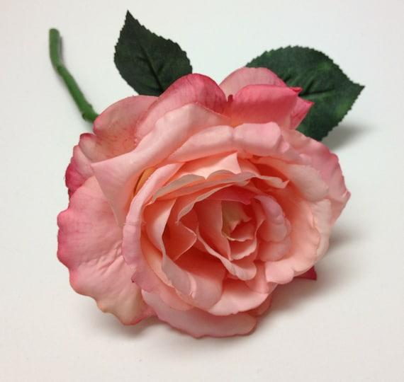 1 jumbo peachy pink silk rose on stem rose spray artificial 1 jumbo peachy pink silk rose on stem rose spray artificial flower silk flower wedding millinery hair accessories flower letter mightylinksfo