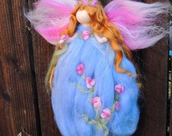 Hyacinth Garden Blessing Fairy-  Needle felted wool fairy angel Waldorf inspired creation by Rebecca Varon aka Nushkie