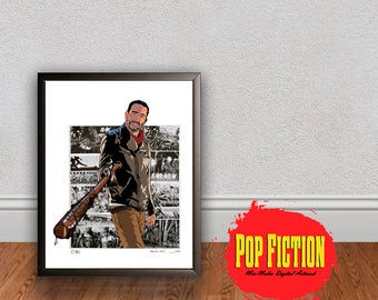 The Walking Dead Negan Original Artwork Canvas & Prints. Comics, Book, Collectible. Digital Mix-Media Art. Pop Culture.