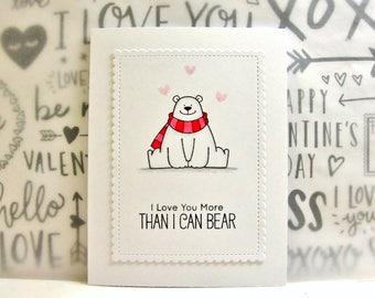 Polar Bear Card, Polar Bear Love Card, Polar Bear Anniversary Card, Polar Bear Birthday Card, More Than I Can Bear, Punny Polar Bear Card