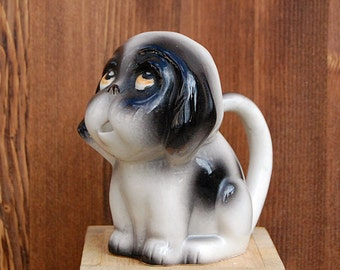 Vintage Ceramic Dog Small Milk Pitcher or Collectible Creamer.