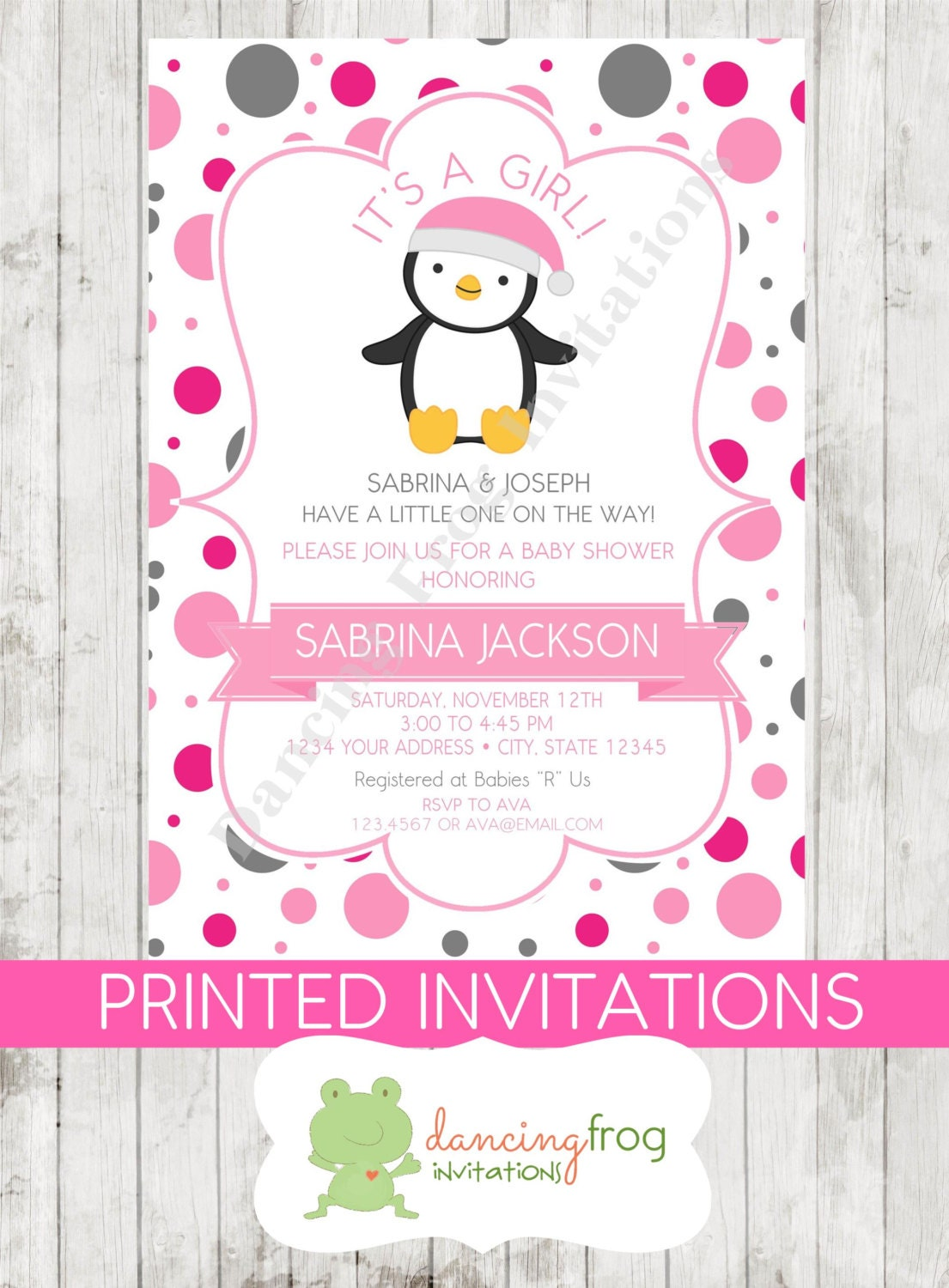 It\'s A Girl Penguin Baby Shower Invitations Printed