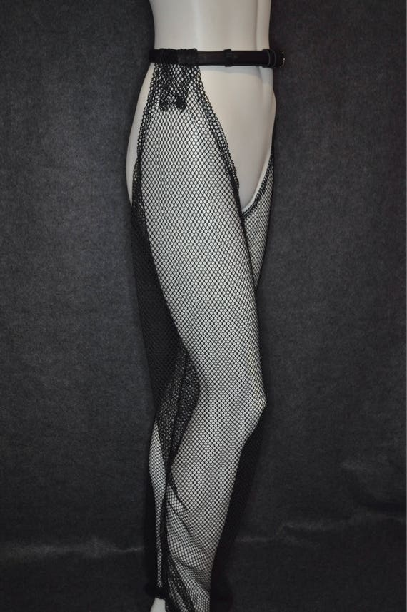 NOMI - Mesh Chaps ( Burning man, clubwear, dance performance Post-Apocalyptic Mad-Max Gay Clothing Stripper Punk Goth Rocker Fishnet ) Black
