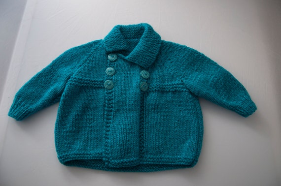 Handknitted Child's Cardigan in Turquoise size 18 month old