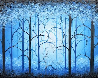 Blue Art Print, Night Forest Art, Whimsical Woodland Art, Blue Tree Art, Surreal Landscape, Fairytale Art, Kids Room Decor, Fantasy Wall Art