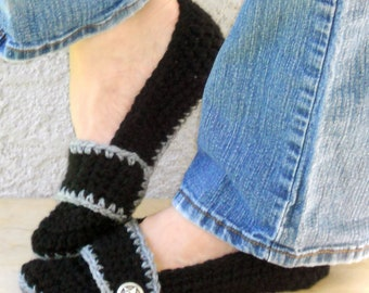 Night sky slippers, crochet slippers, womens crochet slippers, booties, shoes, socks, womens slippers, button strap slippers, black slippers