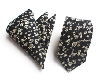 Navy Blue Floral Skinny Tie & Pocket Square | floral tie | flower tie | skinny tie | wedding tie | wedding ideas | ideas | groom |