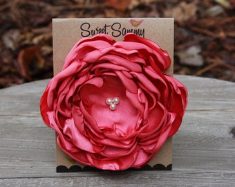 34 Colors Large Satin Flower Pin, Coral Satin Flower Pin