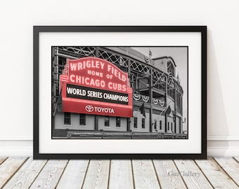 """Chicago Cubs World Series - FRAME: 14x18 18x18 18x24"""", Chicago Cubs, Wrigley Field Marquee, MLB, Cubbies, Man Cave, Baseball Art"""