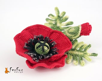 Red Poppy brooch Red flower pin Rustic wedding jewelry Mother's day gift Summer jewelry Red poppy corsage Floral brooch Spring accessory