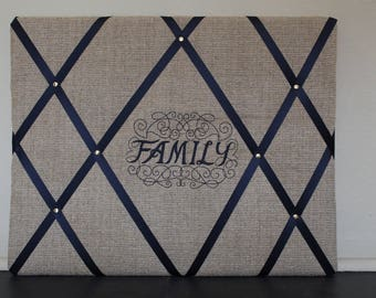 """Embroidered Memory Board - """"Family"""""""