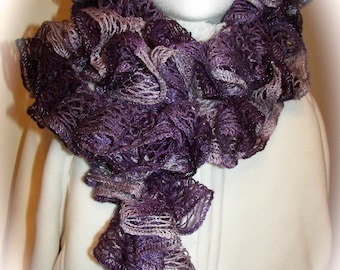 Sashay Ruffle Scarf -Blues Aqua Purples - Boogie - Sashay Scarf - Hand Crocheted - Available in other colors