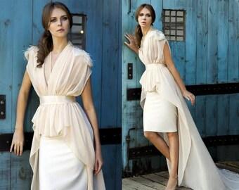 Unique Wedding Dress, 2 Piece Wedding Dress, Elegant Wedding Dress, Two Piece Wedding Dress, Wedding Gown, Cigar Skirt, Bridal Dress